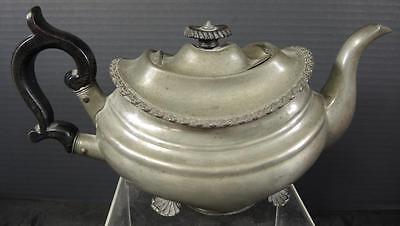 Early Antique Pewter Teapot With Black Ebony Handle