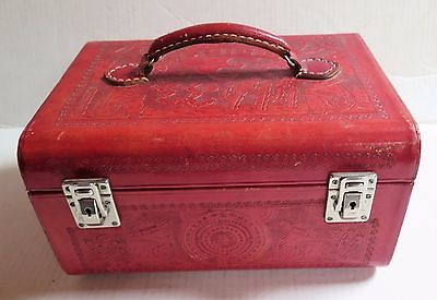 Vintage Tooled Red Leather Train Cosmetic Case, Luggage - Mexico