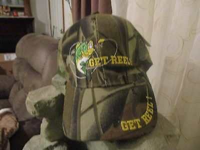 BASEBALL CAP READS GET REEL WITH PHOTO OF FISH. CAMO SNAP STRAP -MESH NEW WITH T