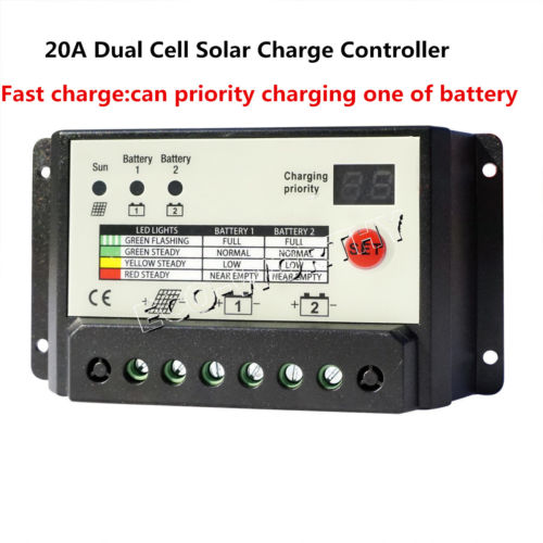 Dual Battery PWM 20A Solar Charge Controller Solar Regulator Auto Switch Fuction