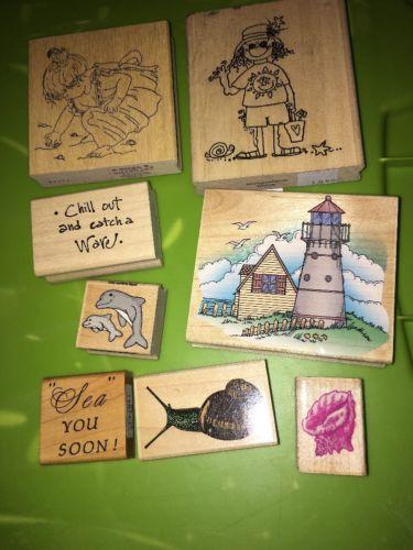 Wooden Rubber Stamp Lot  - Seashells Sea Beach Seashore Lighthouse
