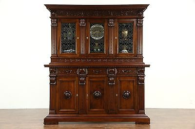Italian Renaissance 1890 Back Bar, China Cabinet, Bookcase, Carved Faces & Fruit