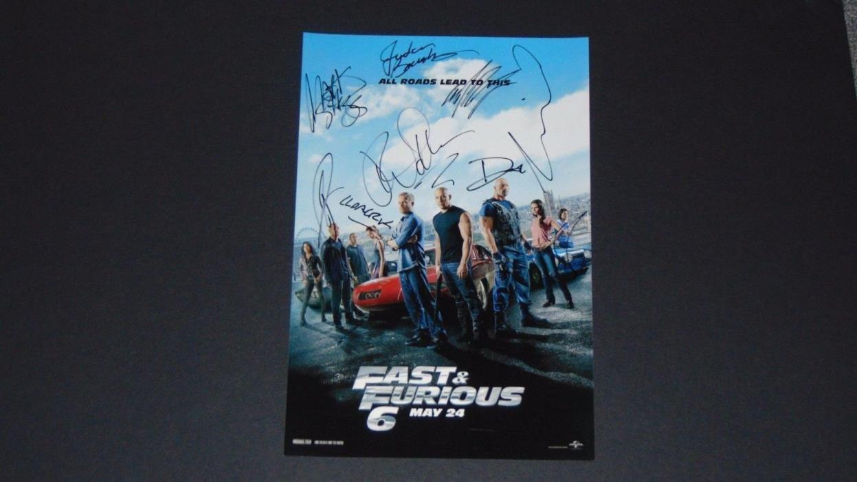 Fast and Furious cast x 9 signed autographed w/ COA Paul Walker Vin Diesel Rock