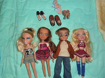 BRATZ DOLLS LOT OF 4  3 GIRLS & 1 BOY