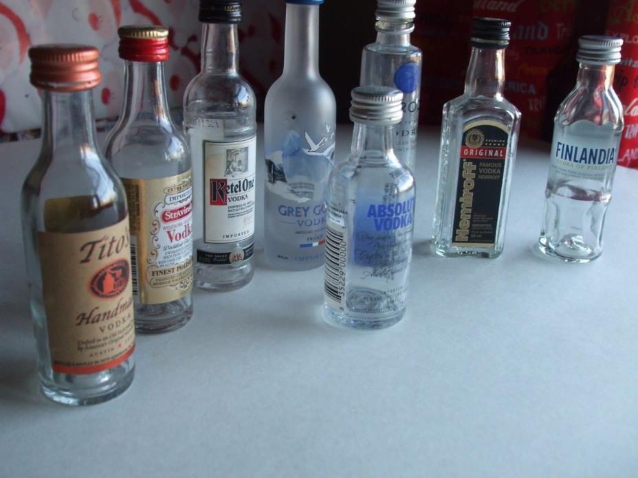 8 EMPTY Miniatures Multiple Straight Vodka 50ml GLASS Liquor Bottles