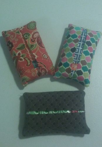 Set of 3 Purse Size Tissue Holders W Tissue