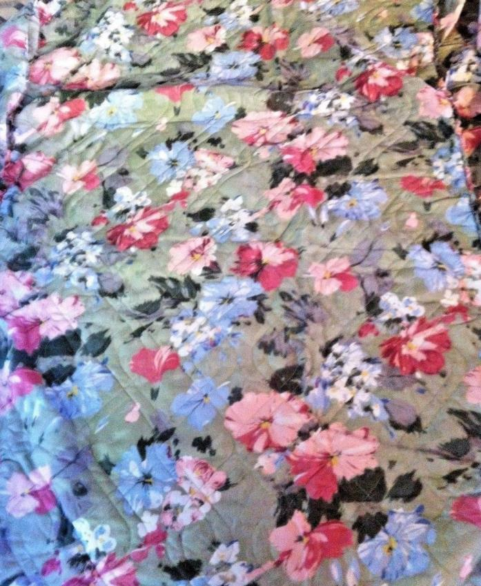 Girl's Twin Bedspread and Pillow Sham - Quilt Top Floral Print  by Berkley 39x75