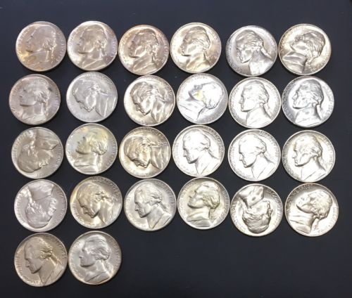 26-BU Uncirculated Silver War Nickel coins Lot Of 26-mixed Dates 1942-1945.