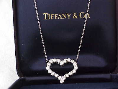 TIFFANY & CO 950 PLATINUM 2.00 CT VS1 F DIAMOND HEART NECKLACE 16