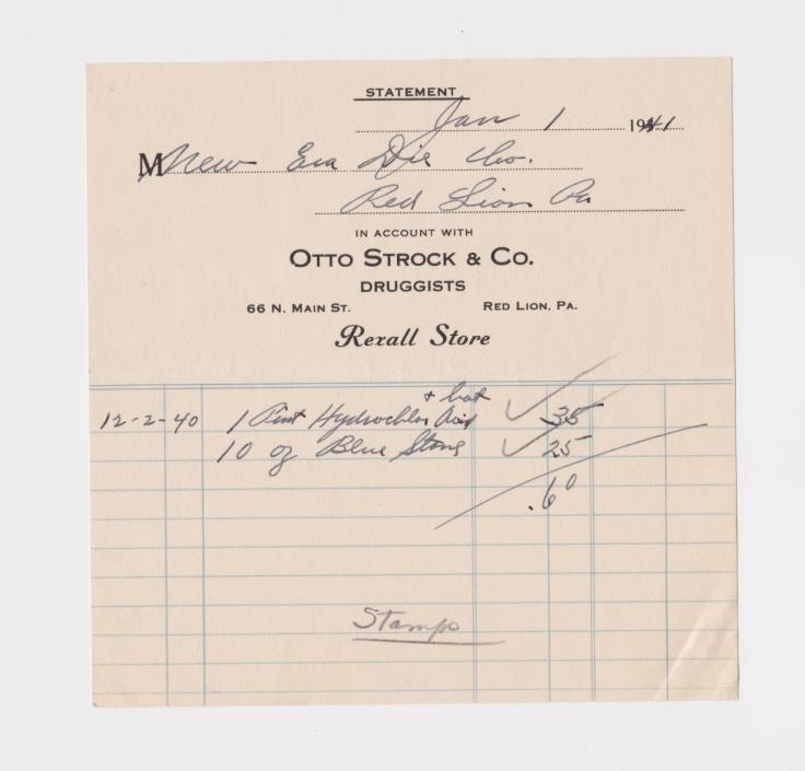 VINTAGE RED LION PA OTTO STOCK & CO DRUGGISTS STORE STATEMENT 1940