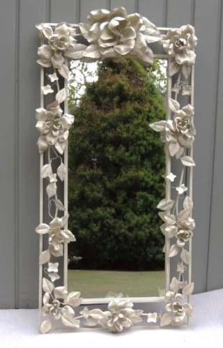 Vintage Metal White Rose Floral Wall Mirror Cottage Chic Shabby Chic