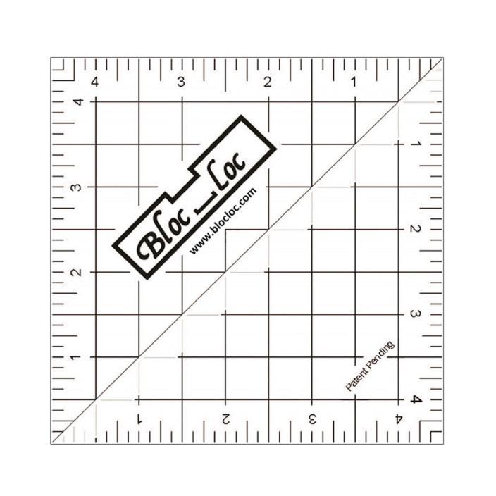 Bloc Loc ~  Perfect Half Square Triangle Quilting Ruler ~ 4.5 Inch ~ HST 45
