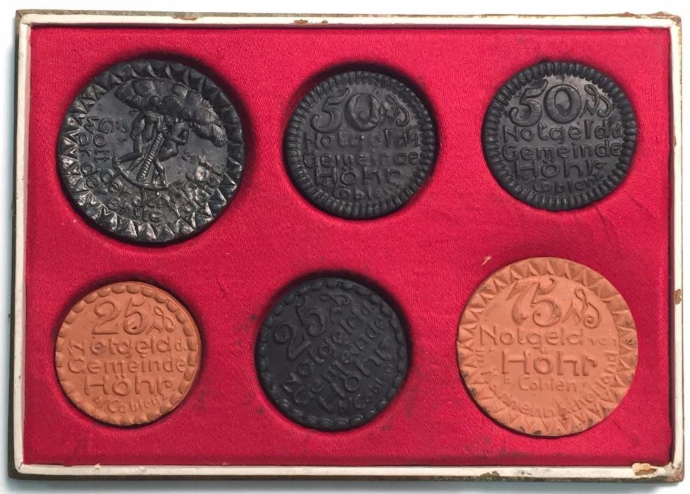 1921 German Porcelain Medal  Set 25/50/75 PFennig Hohr Coblenz