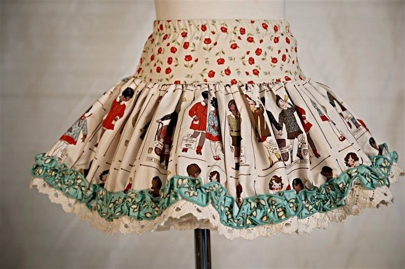 Persnickety-Emily People Skirt, EEUC, Vintage Girl Print, 5T