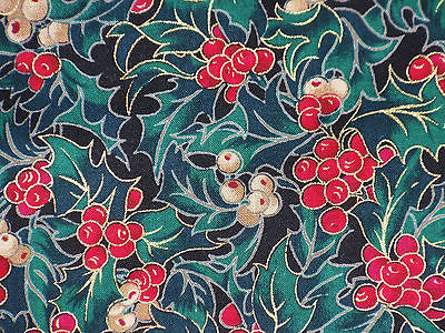 Hoffman Cotton fabric A WOODLAND WINTER HOLLY red white BERRIES cold accent