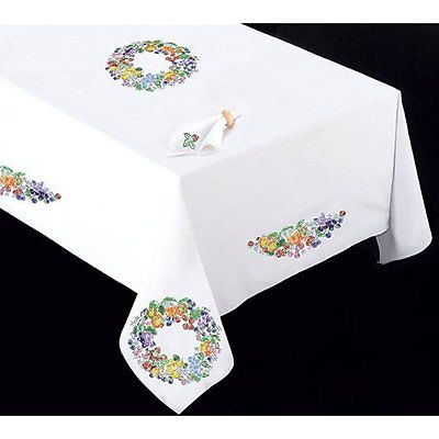 New Stamped White Tablecloth For Embroidery 50x70-Fruit Wreath