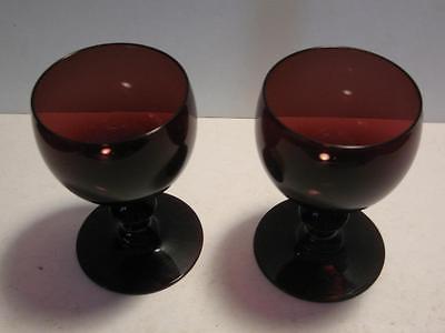 2 Pairpoint # 5000 Wine Glass Stems Deep Amethyst