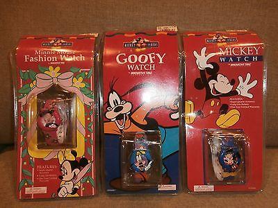 3 Disney Mickey for Kids Wristwatches Mickey Minnie Goofy Innovative Time NIP