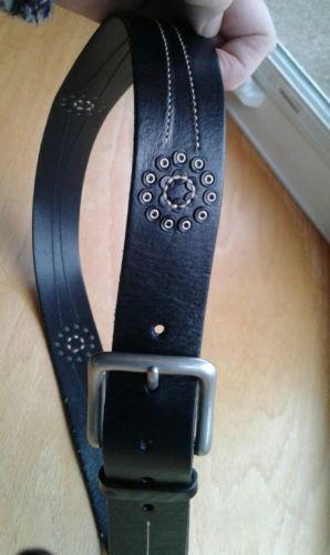 Belt Women's Lauren by Ralph Lauren Black Genuine Leather W/Bradded Design 35-39
