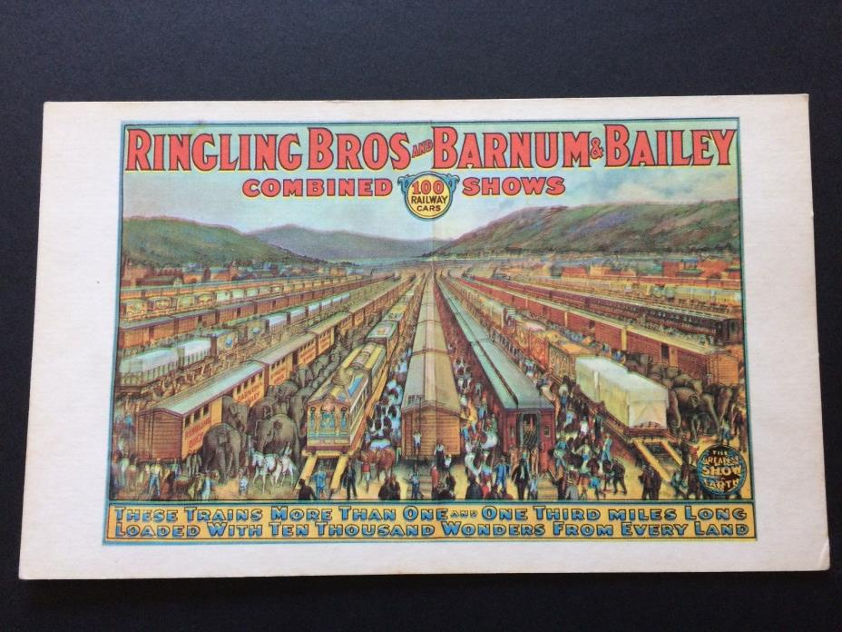 Vintage Circus Card, Ringling Bros & Barnum & Baily beautiful, offers considered