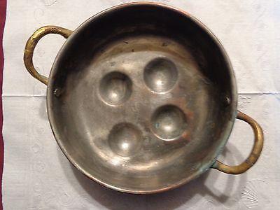 Vintage Heavy Copper Escargot Egg Poacher Mold Pan