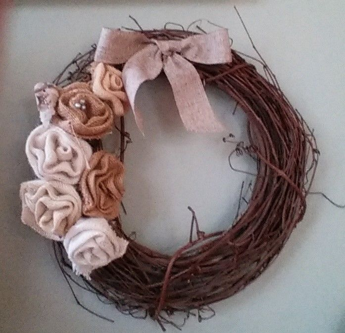 decorative wreaths, grape vine, burlap