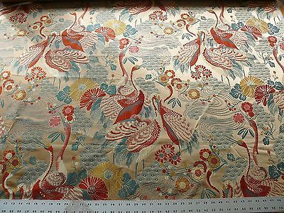 KRAVET ORIENTIAL CRANE bird Haute Red Lampas Msrp $199/Y #1300