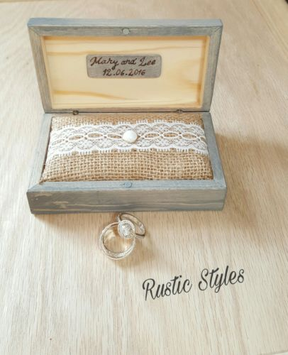 Rustic Wedding Ring Box Wedding Ring BOx Ring Holder Wooden Box Vintage Ring Box