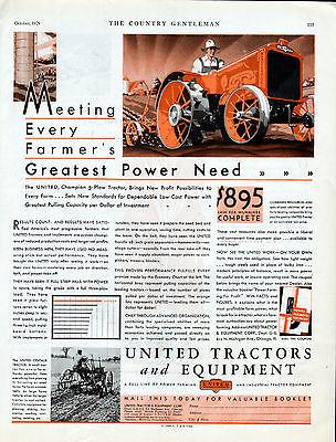1929 United Tractors & Equipment Ad --Farm Tractors, United Champion 3 Plow--x50