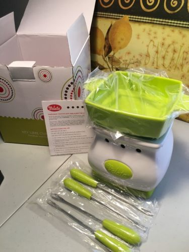 Velata Scentsy Fondue Warmer Key Lime Curve No Lid Includes 4 Forks And Bulb