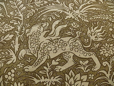 SCHUMACHER MYTHICAL ANIMAL PRINT LINEN SEPIA BROWN BTY MSRP$146/Y #1313