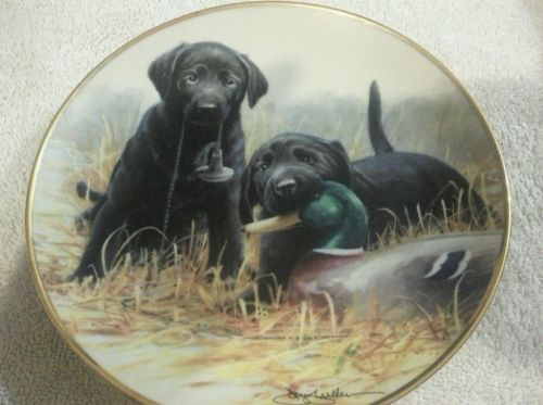 Beginners' Luck Franklin Mint Collector Plate Black Labrador Puppies Signed
