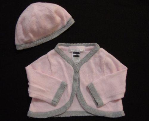 JANIE & JACK Signature Layette Pink Gray Tipped Sweater Cardigan Set Size 0-3M