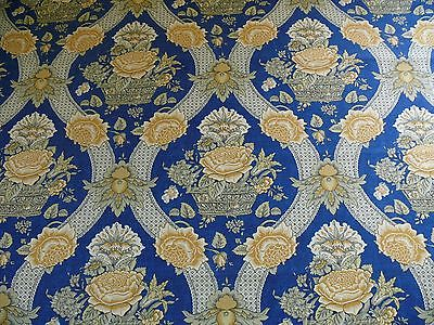 BRUNSHWIG AND FILS CORBEILLE DE FLEURS BLUE GOLD FRENCH COUNTRY PRINT BTY #934