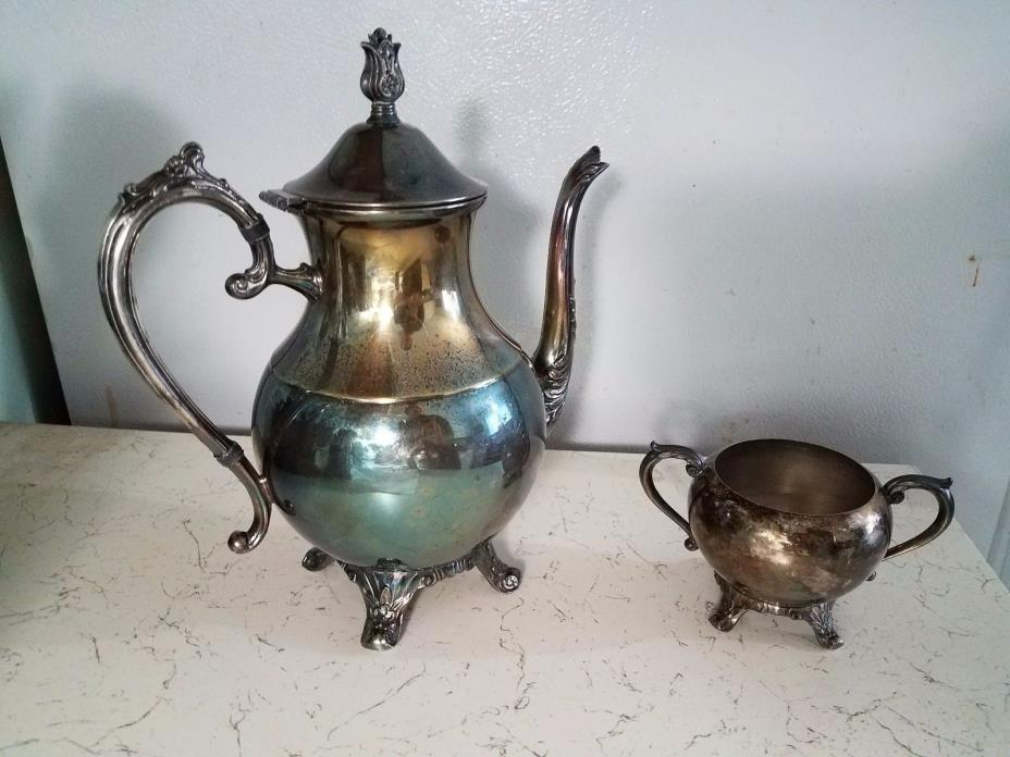 Antique F.B. Rogers Silver Co. Tea Pot and Bowl. Silver Plated