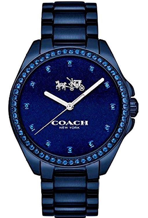 NWT Coach Womens Watch TRISTEN Navy Blue Bracelet Swarovski Bezel /Box 14502343