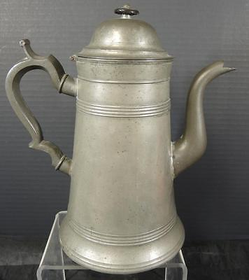Early Antique 1820s American Pewter Lighthouse Teapot Signed Charles Yale