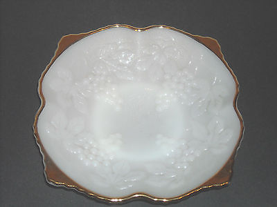 Early Milk Glass Serving Bowl Candy Grape Vintage