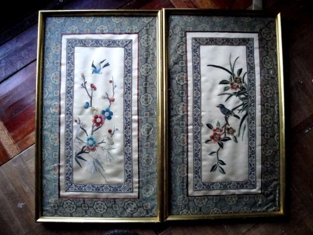 PAIR OLD or  ANTIQUE FRAMED CHINESE HAND EMBROIDERED SILK PANELS
