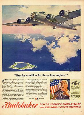 1944 WW2 AD STUDEBAKER Wright Cyclone Engines for B-17 Art Tellander - 010315