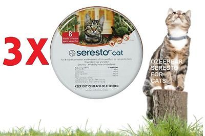 3 X Bayer Seresto Flea&Tick Collar for Cats 8 Months Protection