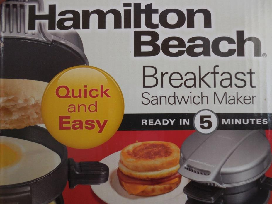 NEW! HAMILTON BEACH 25475W BREAKFAST SANDWICH MAKER W/ 1 YEAR WARRANTY