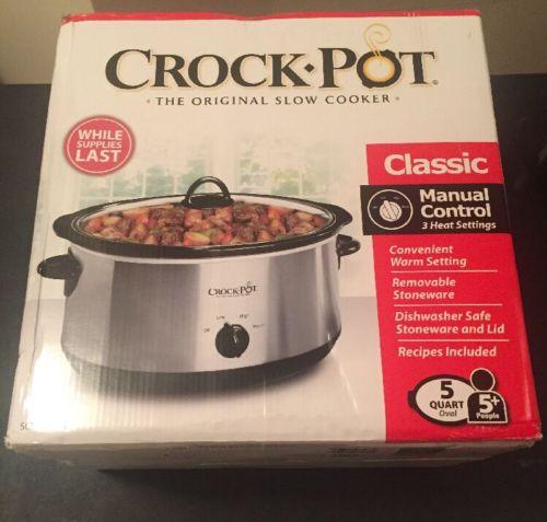 Crock Pot 5 Quart Oval Manual Slow Cooker 3 Settings Stainless Steel SCV500-SS