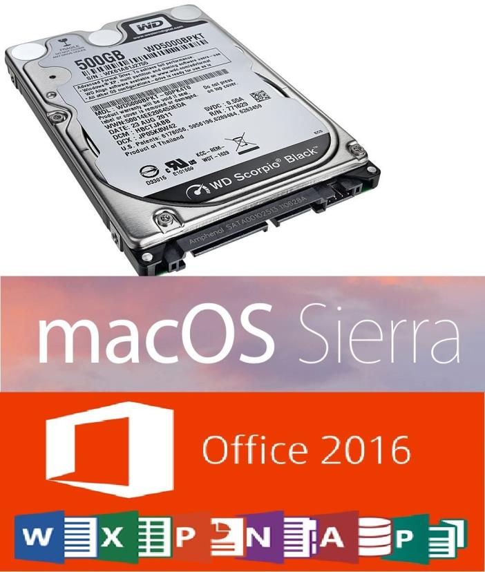500GB 2.5 SATA HDD Hard Drive 2016 Mac OS Sierra Microsoft Office 2016