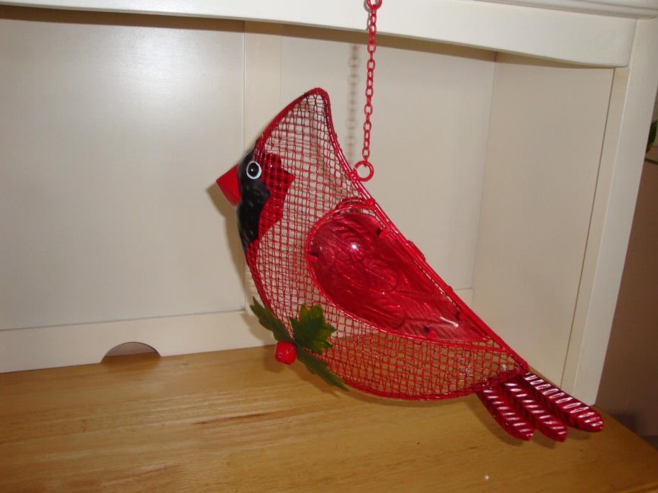 REDUCED LARGE 14 X 7 Wire & Metal Cardinal Bird Seed Feeder-Wildlife-Yard-Garden