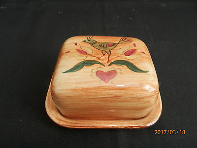 Pennsbury Pottery Square Butter Dish Bird Over Tulips Heart MINTY FREE SHIP