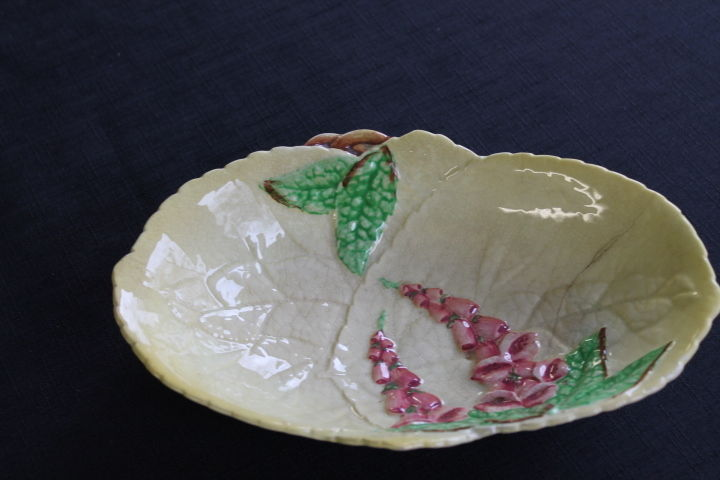 vintage Carlton Ware yellow oval candy dish pink foxgloves England