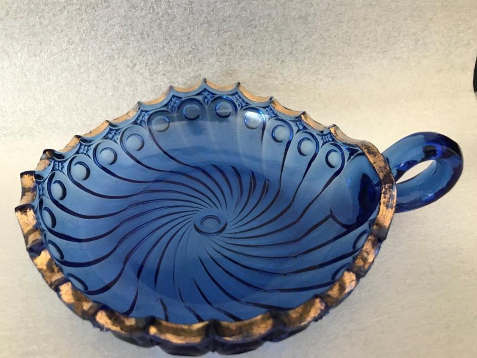 Depression Cobalt Blue Glass Nappy Bowl Sawtooth Gold Trim Vintage