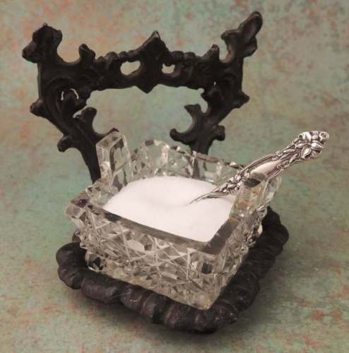Cut Glass Hobnail Open Salt Cellar with Iron Stand