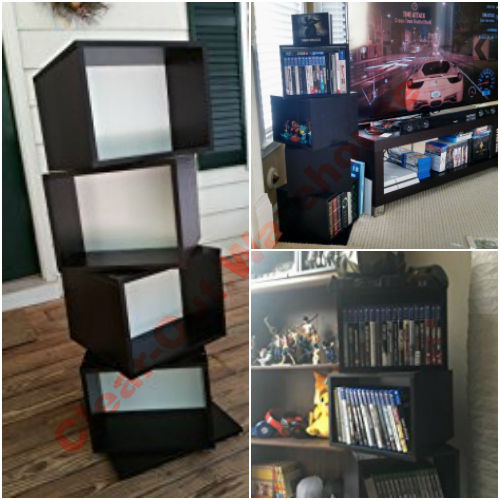 DVD Games CD 4 Tier Shelves Rotating Cube Multimedia Storage System Tower Rack